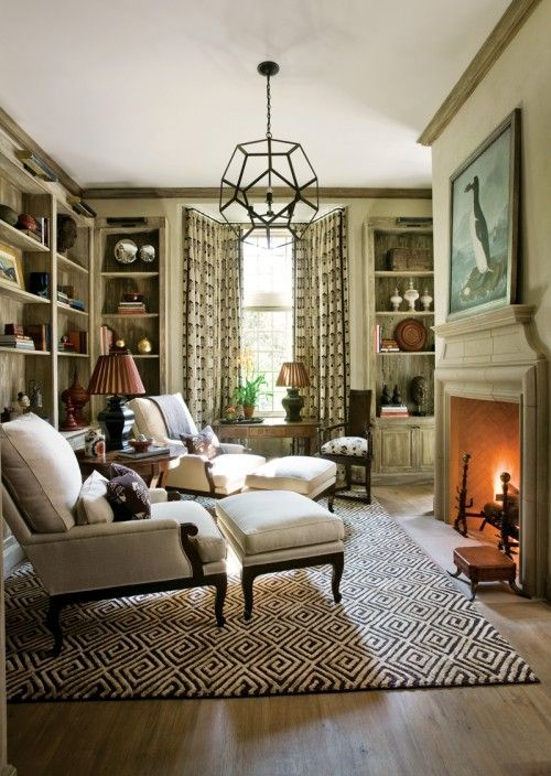 I thought I wanted a settee ... Until I saw this.: Libraries, Idea, Living Rooms, Lights Fixtures, Chairs, Fireplaces, House, Rugs, Sit Rooms