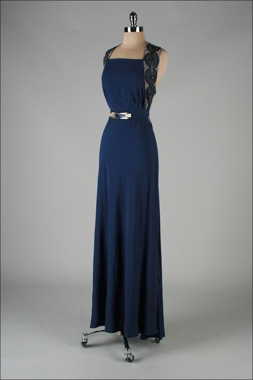 Gorgeous~Vintage 1930's Petrol Blue Jeweled Bias Gown with Belt front view~
