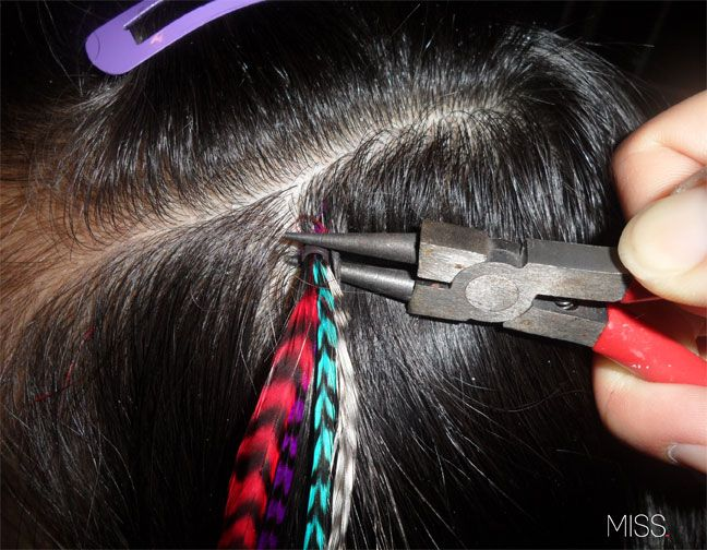 DIY feathers!  I ordered and did my own after reading this.  Fishing line works well for threading the hair through the bead.