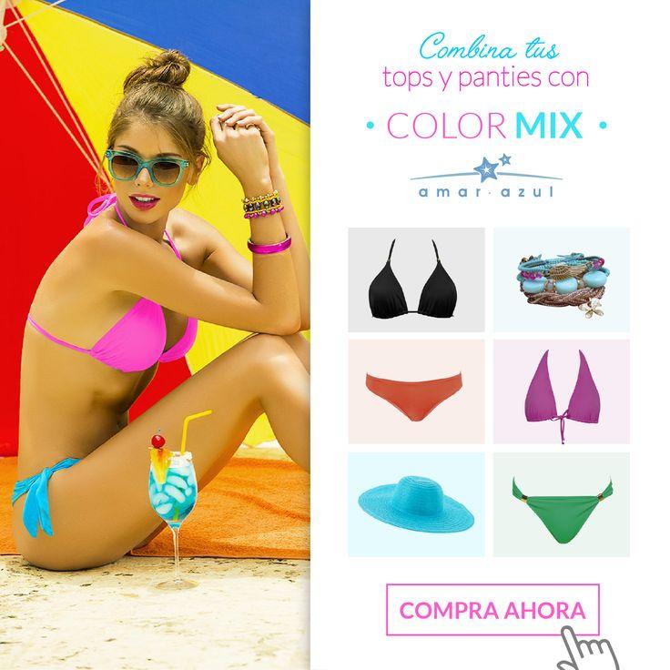 Combinar tus tops y pantys de nuestra colección #ColorMix para lucir hermosa en esta temporada de #vacaciones es muy fácil, solo debes ingresar a nuestro sitio web y escoger el que más te guste.   #swimwear #beachwear #vestidosdebaño #bikini #amarazulswimwear #Colormix