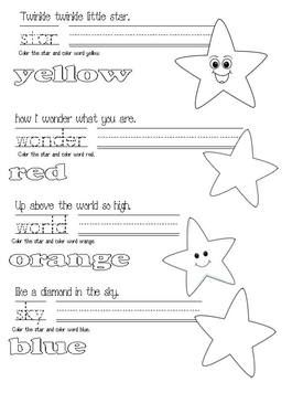 nursery rhymes, Twinkle Twinkle Little Star activities, free common core lessons for kindergarten, free common core lessons for 1st grade, D...
