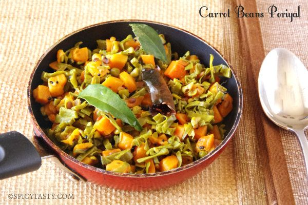 Avarakkai Carrot Poriyal - Broad Beans & Carrot Stir Fry | Spicy Tasty