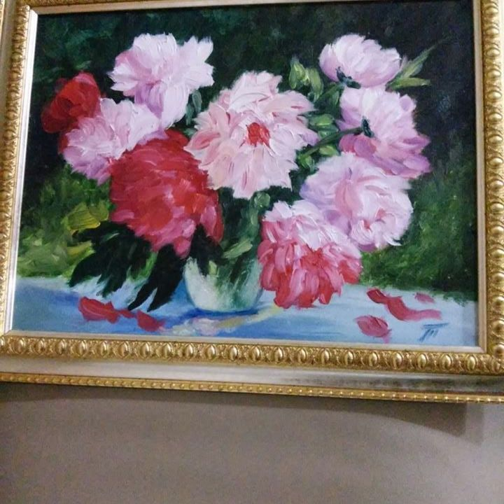 View and buy Bouquet of peonies oil painting in frame 30*40 by ClaireArtCafe on Etsy