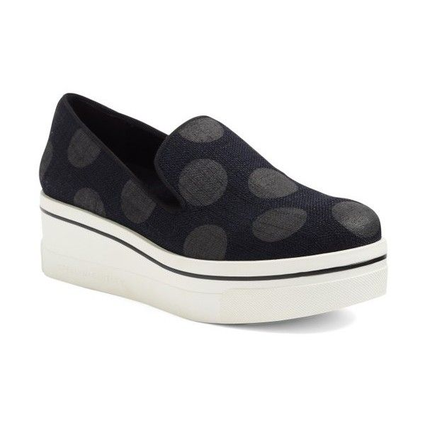 Women's Stella Mccartney Binx Platform Sneaker (€470) ❤ liked on Polyvore featuring shoes, sneakers, platform trainers, platform shoes, chunky platform shoes, slip on sneakers and polka dot sneakers