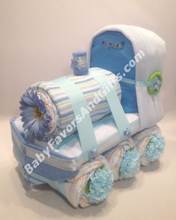 Choo Choo Train Diaper Cake - 9990083 - Baby Boy - Diaper Cakes - by Babyfavorsandgifts
