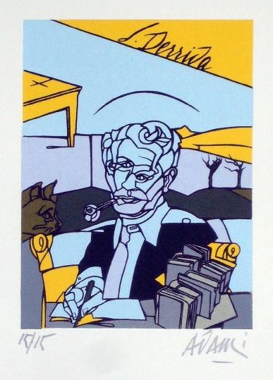 Valerio Adami – Portrait de Jacques Derrida (Lithograph, 2008)