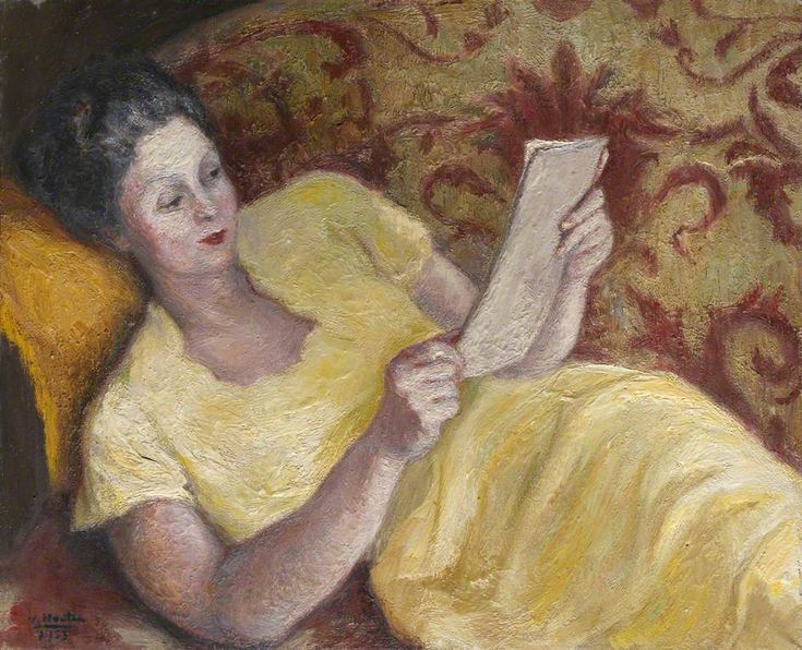 Portrait of a Lady in Yellow Reading a Book Georges van Houten (1888–1964)