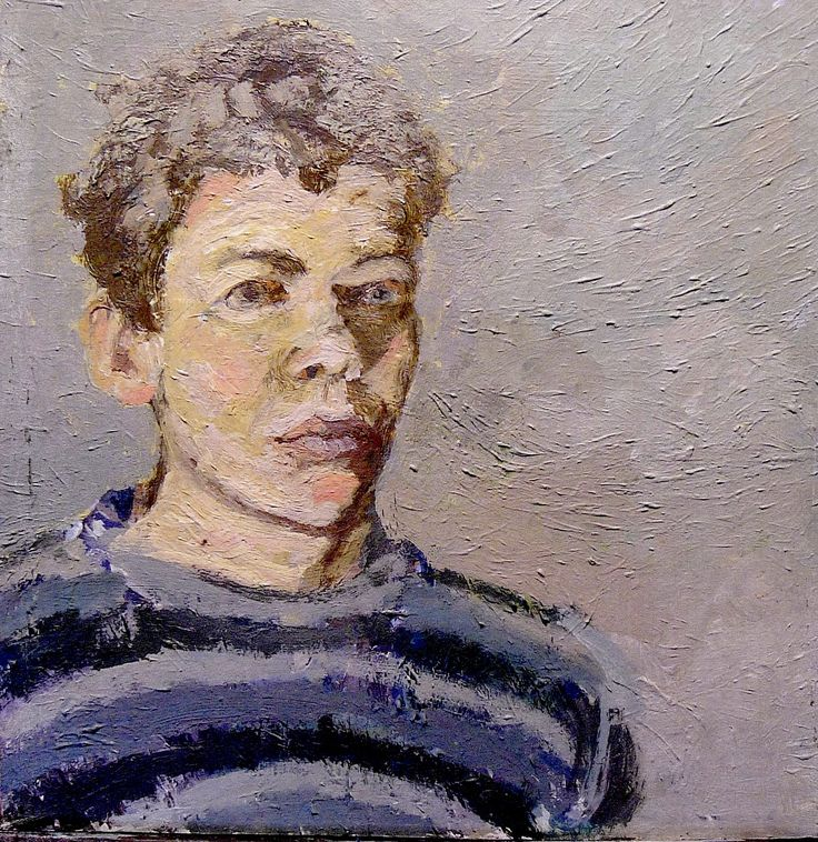 Ben's sketchbook - oil paint on cardboard box scrap.  Self portrait.  Ben benefited from attending Life drawing classes regularly, he always painted directly from life.