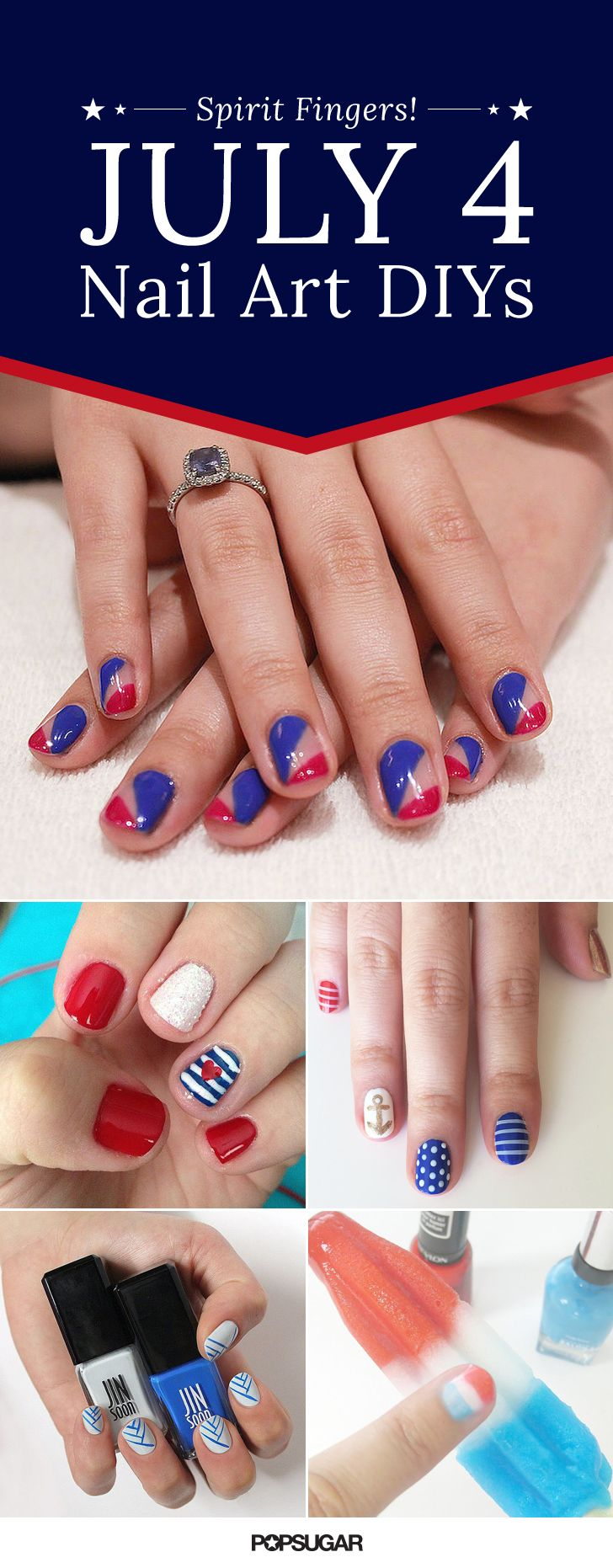 These July 4 nail art ideas are perfectly patriotic! Try one of these easy nail DIYs this Summer.