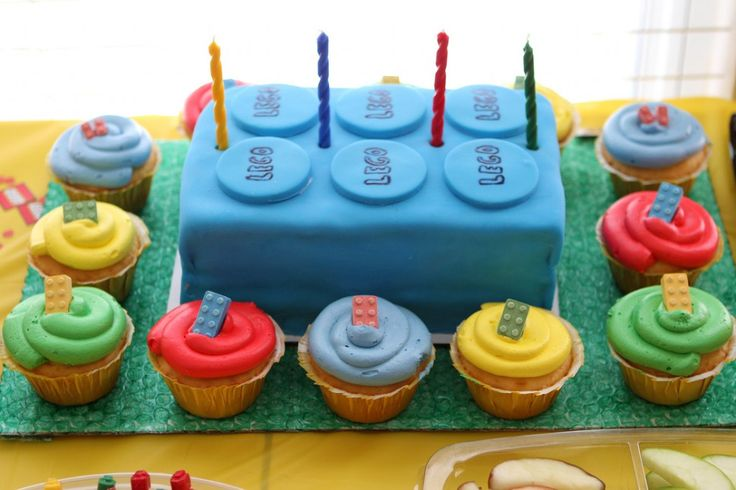 This Lego cake and cupcakes are exactly what I am looking for, though I want to use a tiered cupcake stand.