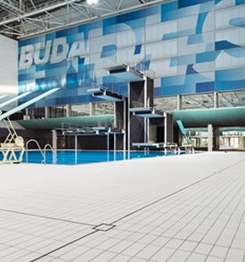 Diving pool and tiled concourse at 2017 FINA Swimming Championships.