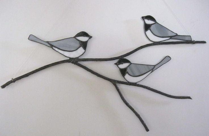 Chickadees on a Branch Stained Glass Suncatcher or by Nanantz
