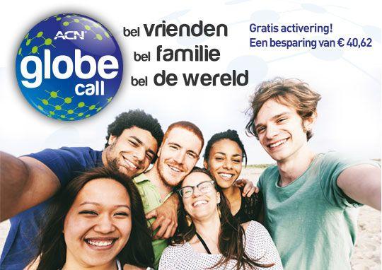 Globe Call is het nieuwste aanbod binnen digitale telefonie van ACN. Wij hebben dit belpakket, dat is gericht op het plaatsen van internationale oproepen, op u afgestemd en veel bestemmingen opgenomen die populair zijn onder klanten van digitale telefonie van ACN. Met ACN Globe Call kunt u bellen met vrienden en familie in het buitenland,