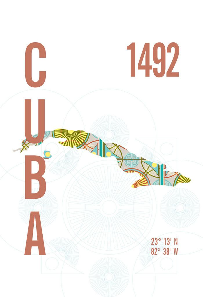Cuba map print by J Hill Design.