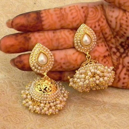 On the occasion of #AkshayaTritiya indulge in these Pretty White Gold Plated Bandani Jhumka Earrings Product ID : 800563 Price: $17.39 Worldwide Delivery | 7 day return Policy Visit m.mirraw.com DM or Whatsapp on 91 8291100288  #Jhumka #Earrings #Pretty #Details #Gold #EthnicWear #Fashion #Wedding #Bride #BridalWear #Ethnic #Desi #Design #Glamour #WomensWear #OnlineShopping #Mirraw #InstaPhoto #InstaDaily #InstaLook #InstaLike #InstaClick #InstaGood #PictureOfTheDay #ProductOfTheDay…