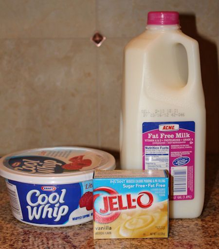 Pudding + Cool Whip = The only frosting you will ever need! Mix 1 vanilla pudding packet with 1/2 of the milk called for on the package. Whisk until it begins to thicken. Fold in 1 container of Cool Whip. Now lick the spoon. YUM!
