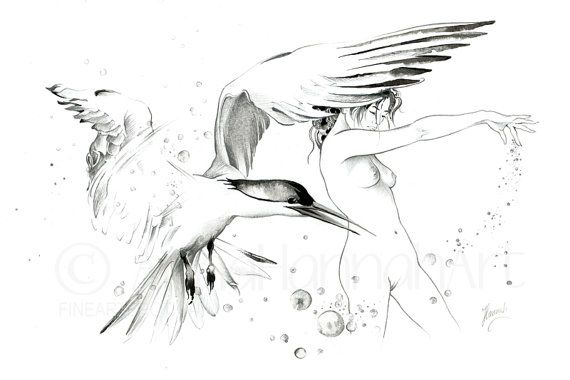 seagull bird flight erotic art nude beautiful by FineArtErotica
