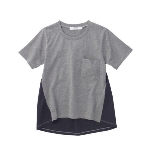【異素材ドッキングTシャツ】ジャージ×布帛との切替えデザインがポイントになったドッキングT…