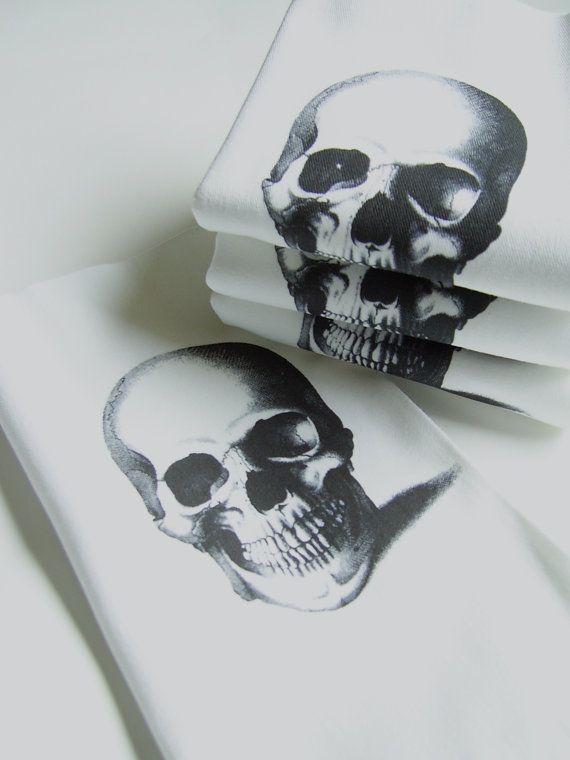 Smiling Skull Cloth Napkins Set of Four by nicoleporterdesign, $28.00