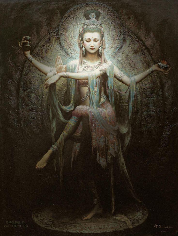Kwan Yin - by artist Zeng Hao. Such a beautiful dancer's pose.