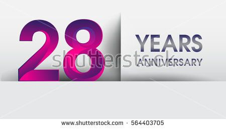 twenty eight years Anniversary celebration logo, flat design isolated on white background, vector elements for banner, invitation card for 28th birthday party