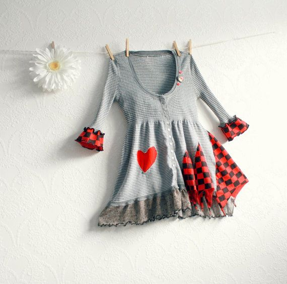 Gray Babydoll Top Women's Tunic Red Heart by BrokenGhostClothing, $59.00