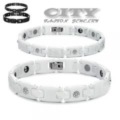 [ 22% OFF ] New  Accessories Wholesale Price Fashion Health Energy Chain Couple Ceramics Delicate Bracelets For Women / Men Ws419
