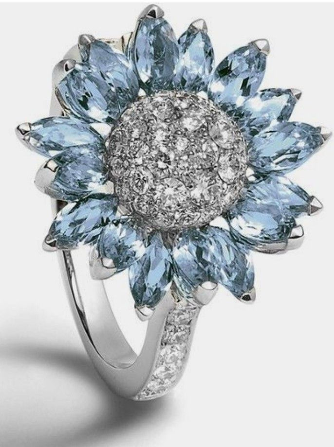 HOTSKULL 925 Sterling Silver Floral Ring Sunflower Blue Sapphire Blossom Charming Diamond Jewelry Engagement Wedding Band Rings