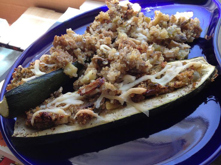 Vegetarian Zucchini Boats by Fitting into Vegan, featuring #Lightlife #GimmeLean Sausage.   #vegetarian #vegan
