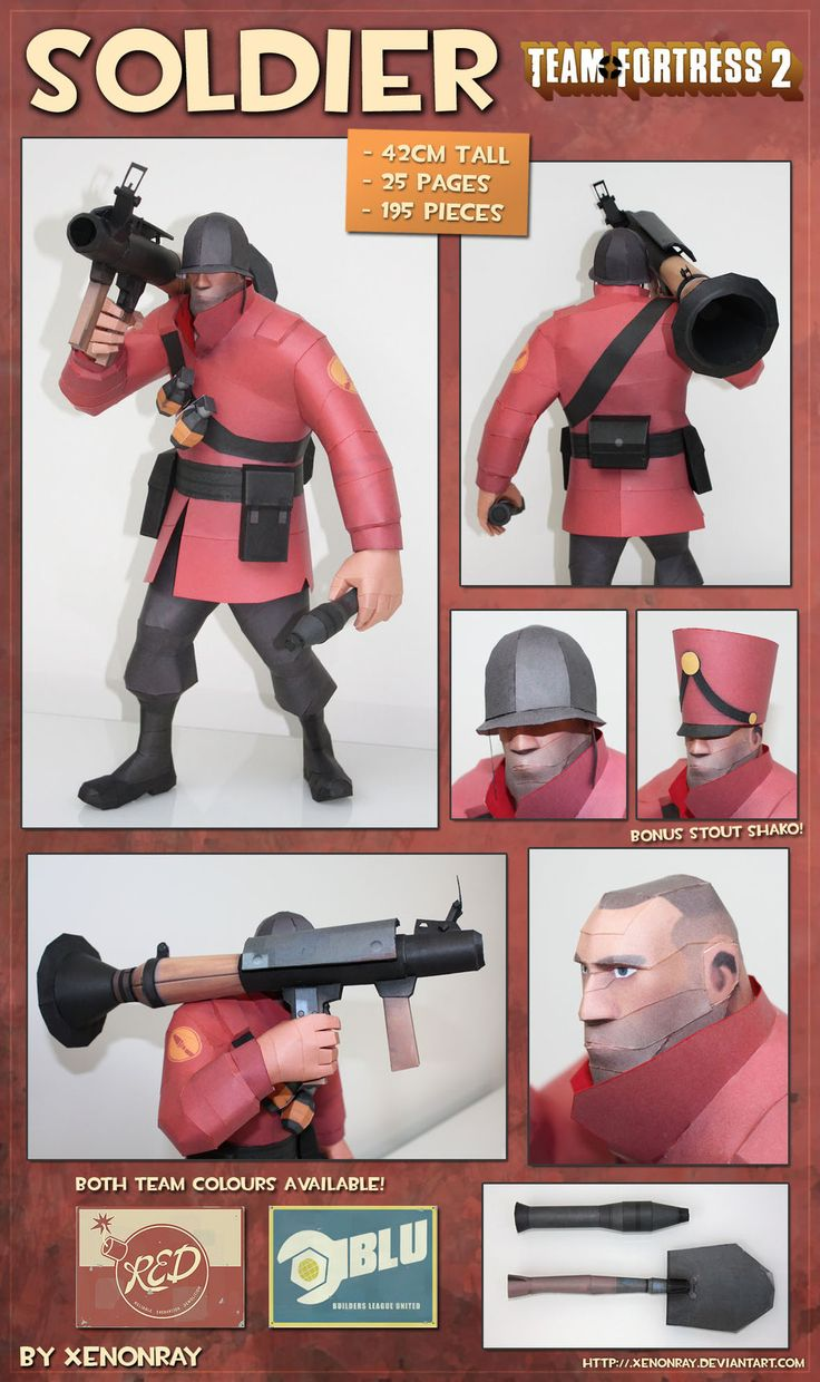 Paperkraft.net - Free Papercraft, Paper Model, & Papertoy: Team Fortress 2 - Soldier Papercraft