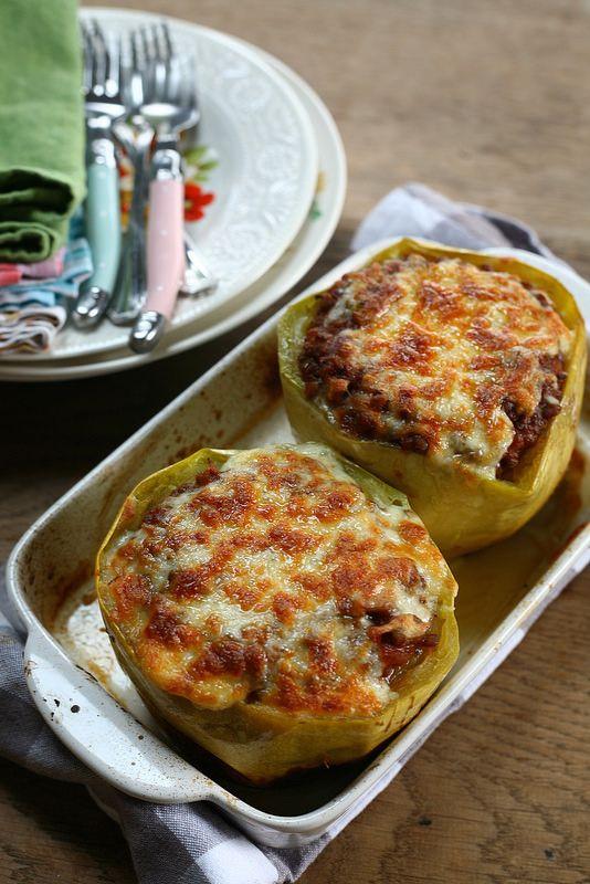 gevulde spaghetti pompoen met linzenbolognese (Mme Zsa Zsa