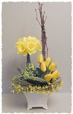 lime stems, daffodils, tulips, mahonia bealii flowers, ivy leaves, bear grass.