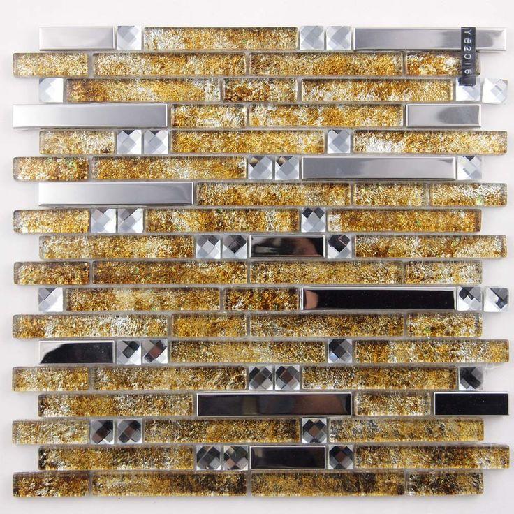Metal And Glass Diamond Silver Stainless Steel Backsplash Tiles Gold Crystal Glass Mosaic Interlocking Tile Yb2016