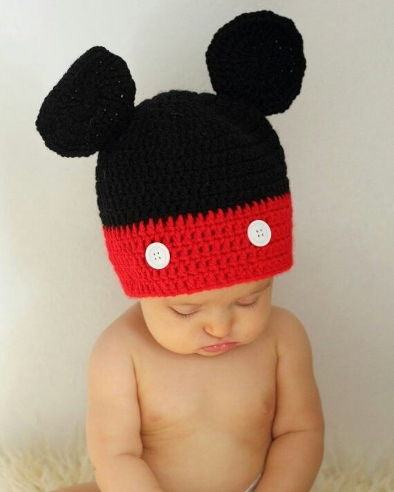 2ebb3438c46 Crochet Mickey Mouse Hat Newborn Size Baby Photography Photos Red Black  Disney  Unbranded  Crocheted
