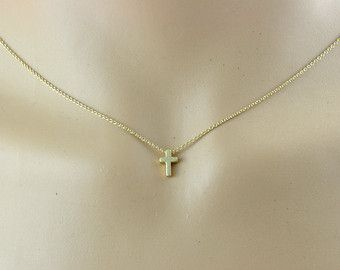 Tiny gold cross necklace 14k gold filled chain simple by illusy