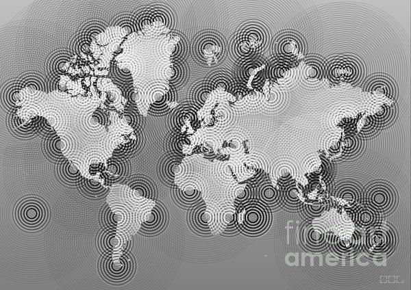 World Map Zona In Black And White by elevencorners. World map wall print decor. #elevencorners #mapzona