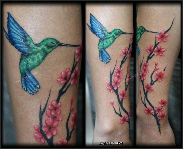 #Hummingbird #Cherry blossom #Colors #Tattoo #kohsamui #Thailand  T.+66 89-8126403 Artist : Pang World Famous ink Tattoo machine LINE : PANG_ANTILIFE IG : MONSTER_INK.PANG PINTEREST : Pang Anti-Life