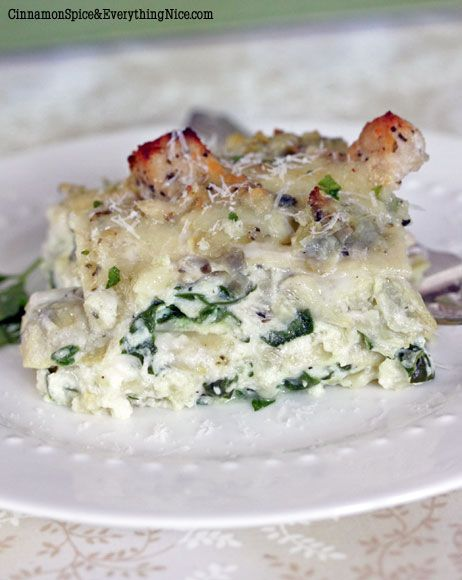"""Artichoke Chicken Lasagna  this was AMAZING! made it for a """"double date"""" in night, and our friend who didn't like artichokes gobbled it up!  Used half and half instead of whole milk for sauce"""