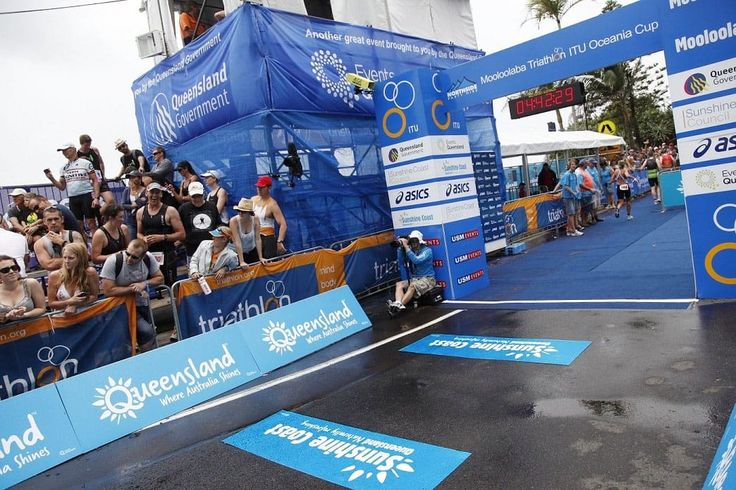 Non-slip floor graphic in a sporting event.