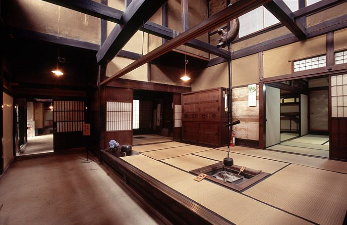 The beautiful and well lit daidoko of the Matsumoto House, Takayama, Japan.