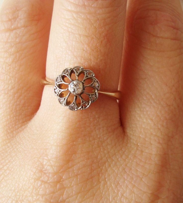 Antique Diamond Engagement Ring, Filigree 18k Gold Rose Cut Diamond Ring, Edwardian Wedding Ring Approximate Size US 6.75. $585.00, via Etsy.