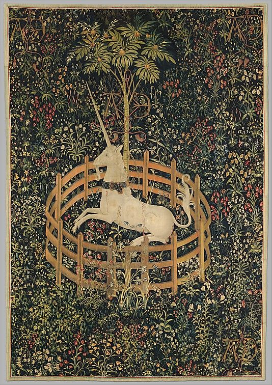 The Unicorn in Captivity (from the Unicorn Tapestries) ca. 1495. In the collection of the Cloisters.