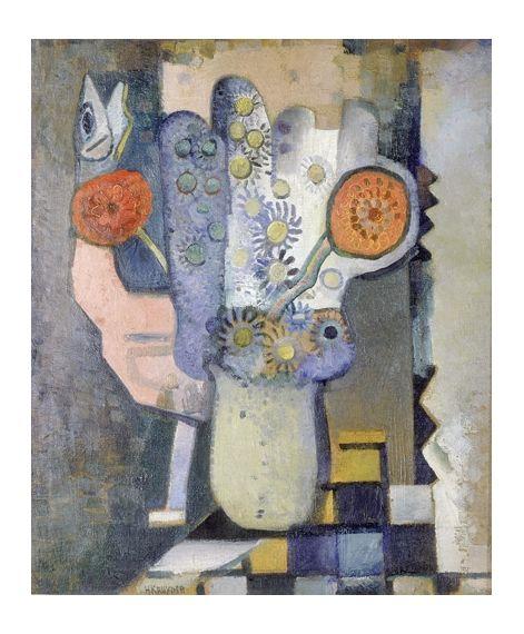 Herman Kruyder - Stilleven (met roze vogel; linkerdeel triptiek 'Lente'); Creation Date: 1931; Medium: oil on canvas; Dimensions: 29.52 X 24.8 in (74...