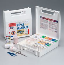 "@ShopAndThinkBig.com - This 196-Piece First Aid Kit Is Ideal For Contractors, Fleet Vehicles, Work Sites Or Small Companies With Up To 50 Employees. It Meets Federal Osha Recommendations And Carries 20 Critical Products Including A 4 Oz. Eye Wash And 6-Piece Cpr Pack. The Partitioned, Water-Resistant Plastic Case Is Wall Mountable Yet Has A Handle For Easy Carrying.Kit Includes:(1) G-155: 3/4""x3"" Adhesive Plastic Bandages, 100/bx(2) A-202: 2""x2"" Gauze Dressing Pads, (3) 2-Pks(1) An-…"