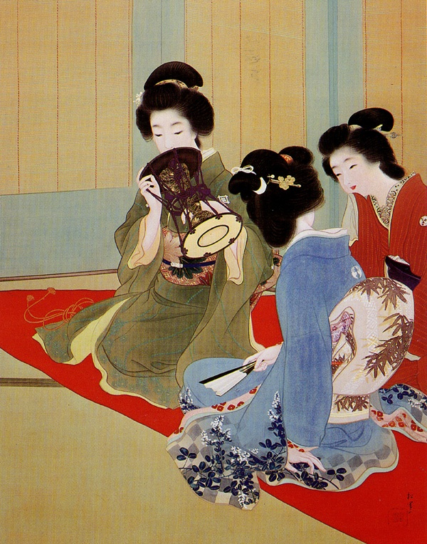 """Uemura Shōen (1875 - 1949). The true, the good and the beautiful are what the Japanese painter, explored in her """"Bijinga"""" paintings. """"Bijinga"""", literally """"pictures of beautiful women"""" is a genre in Japanese art, which is generally descended from ukiyo-e woodblock prints of the Edo period. Uemura Shōen was the pseudonym of an important woman artist in Meiji, Taishō and early Shōwa period Japanese painting. Her real name was Uemura Tsune."""