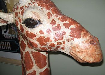 Paper mache giraffe. shows how to weight the neck with plaster to provide balance for the head