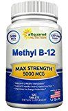 Vitamin B12  5000 MCG Supplement with Methylcobalamin (Methyl B-12)  Max Strength Vitamin B 12 Support to Help Boost Natural Energy & Metabolism Benefit Brain & Heart Function  120 Tablets