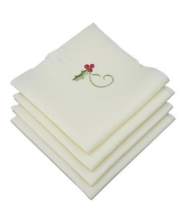 Another great find on #zulily! Tartan Ribbon Embroidered Christmas Napkin - Set of Four #zulilyfinds