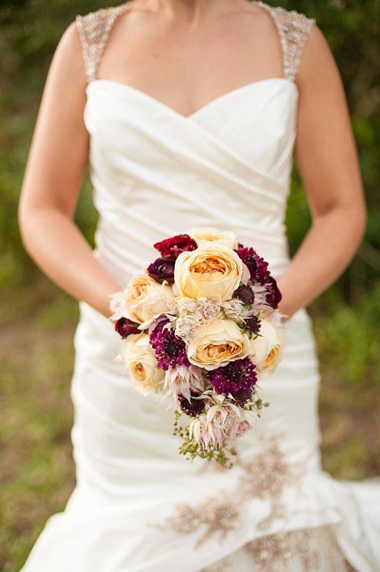 Rustic fall wedding bouquet in an Enzoani