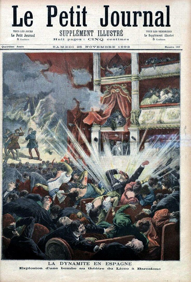 #taldiacomavui de 1893 l'anarquista Santiago Salvador va llençar dues bombes al pati de butaques del Gran Teatre del Liceu de Barcelona que van matar més d'una vintena de persones i van causar nombrosos ferits. http://ca.wikipedia.org/wiki/Bomba_del_Liceu La bomba del Liceu segons Le Petit Journal de París (25 de novembre de 1893).